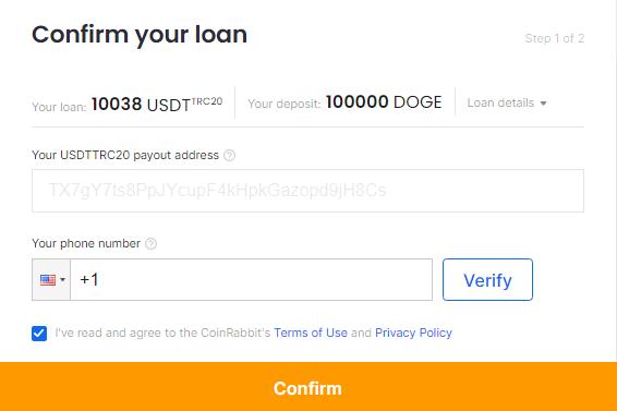 Confirm Doge loan