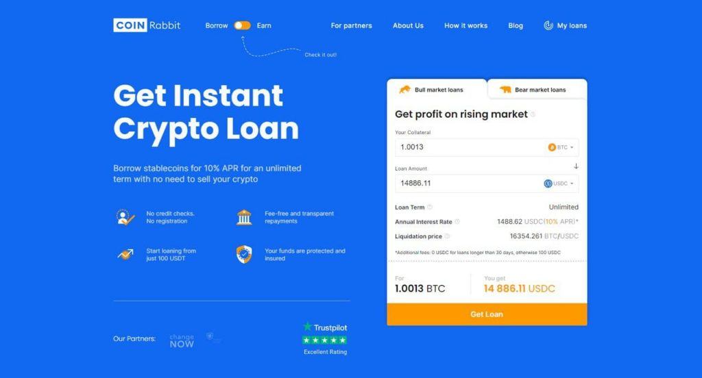 Get instant crypto loan
