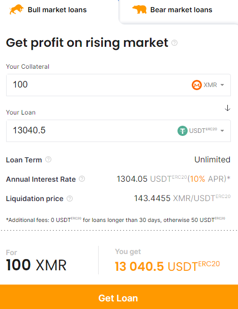 set Monero as the collateral currency