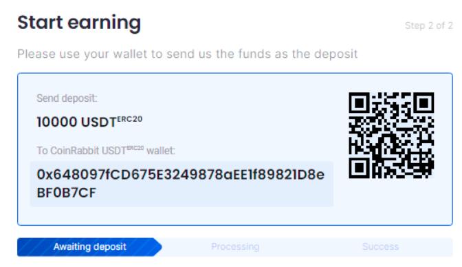Send the сrypto deposit