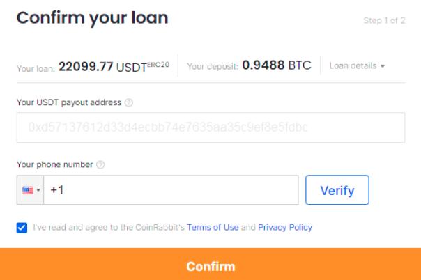 Confirm Bitcoin loan