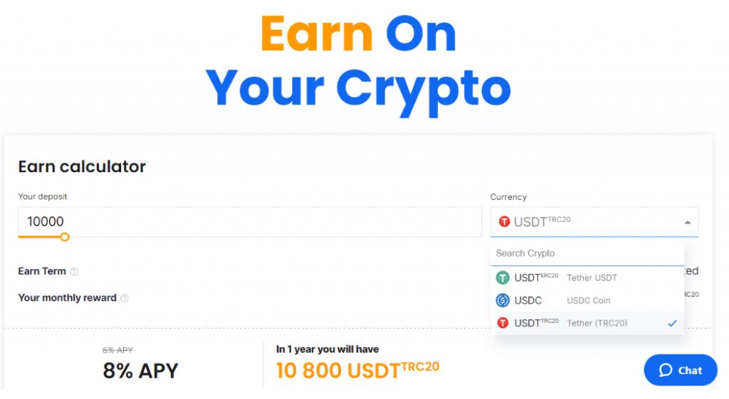 Earn on crypto
